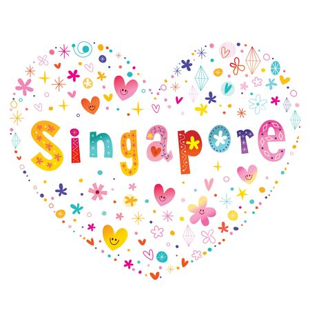 Singapore heart shaped type lettering vector design 일러스트