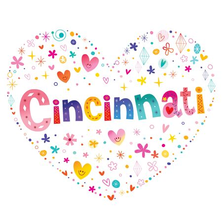 Colorful Cincinnati in heart shape