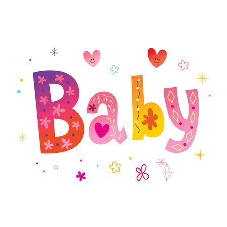 baby unique decorative lettering 일러스트