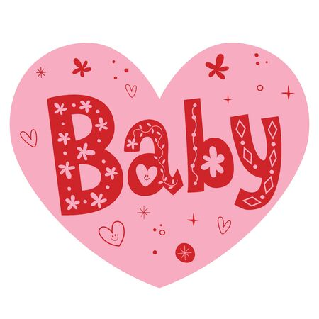baby heart shaped lettering  design