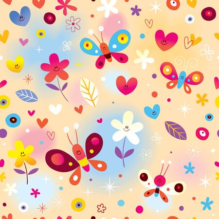 butterflies hearts and flowers seamless pattern 일러스트