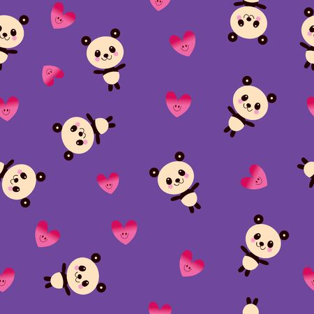 cute panda bears and hearts seamless pattern