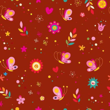Butterflies flowers hearts nature seamless pattern 일러스트