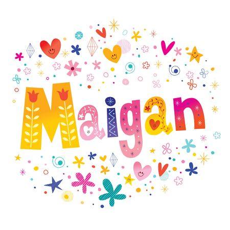 Maigan girls name decorative lettering type design