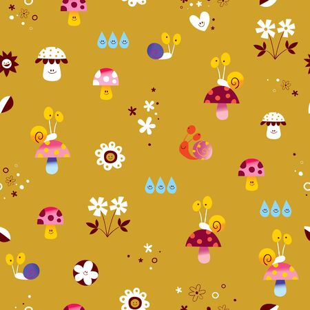 snails mushrooms flowers cute little characters nature seamless pattern