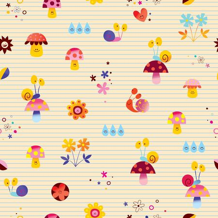 snails mushrooms flowers cute little characters nature seamless pattern with lined paper background 일러스트