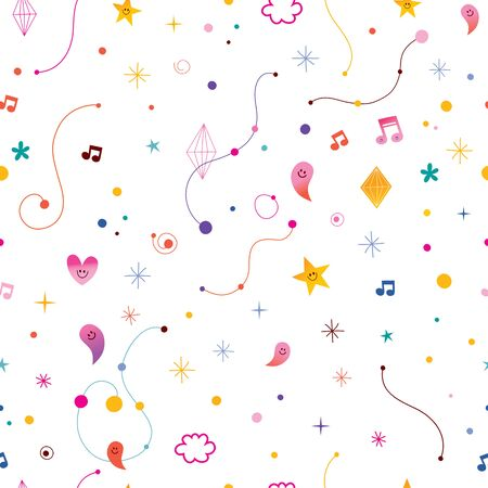 Abstract art with little characters seamless pattern 일러스트