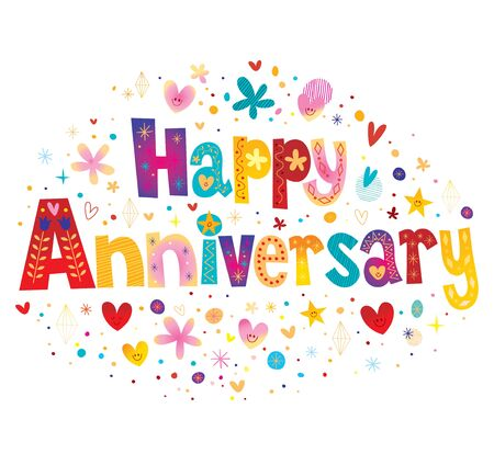 Happy Anniversary greeting card with decorative lettering text design