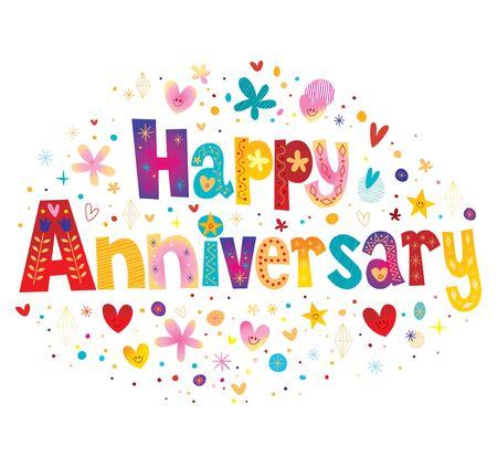 Tarjeta de felicitación de feliz aniversario con diseño de texto de letras decorativas Ilustración de vector