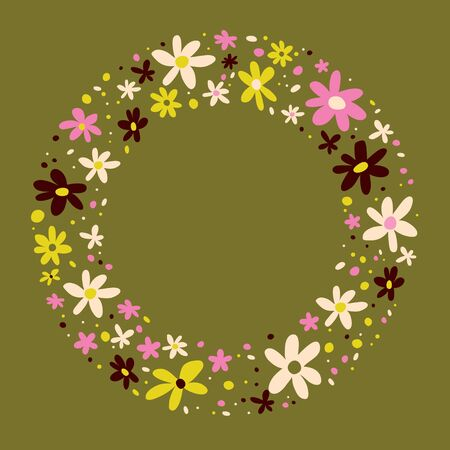 flowers nature circle frame border design elements  イラスト・ベクター素材