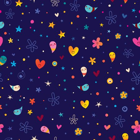 fun cartoon abstract art seamless pattern with cute characters