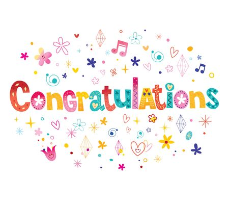 Congratulations typography lettering decorative text card design 일러스트