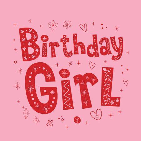 cumpleaños niña diseño de letras únicas Ilustración de vector