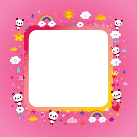 kids frame with cute panda bears 일러스트