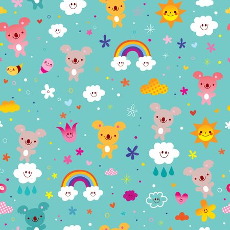 seamless pattern with cute koala bears