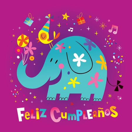 Feliz Cumpleanos Happy Birthday in Spanish greeting card with cute elephant and bird