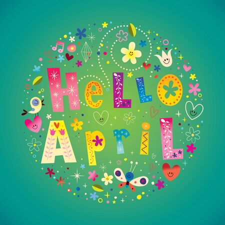 Hello April greeting card with unique lettering