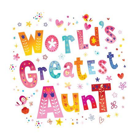 Worlds Greatest Aunt unique lettering design