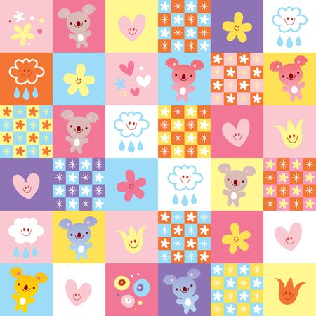 pattern with koala bears clouds and flowers 일러스트
