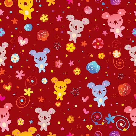 seamless pattern with koala bears and flowers