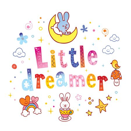 little dreamer kids design with cute characters 일러스트