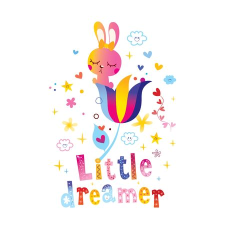 little dreamer kids design with cute bunny character 일러스트