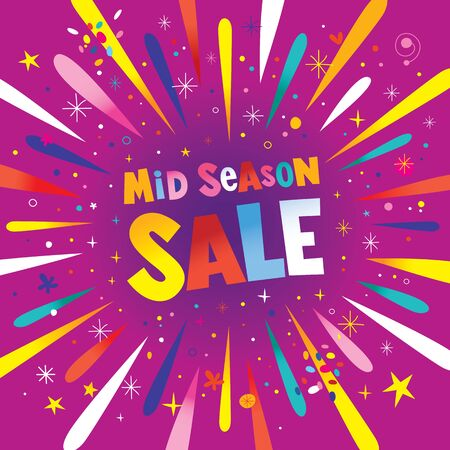mid season sale banner poster with burst explosion