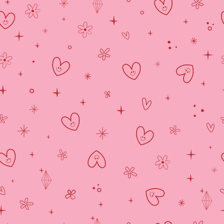 cute hearts and flowers seamless pattern 일러스트