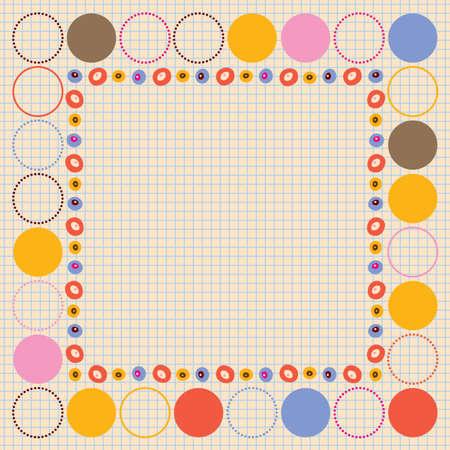 decorative border design elements on notebook paper background Ilustracja