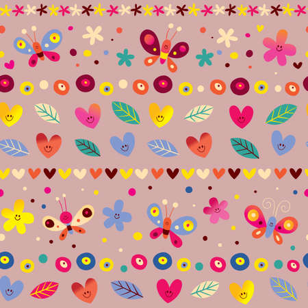 hearts, butterflies and flowers seamless pattern