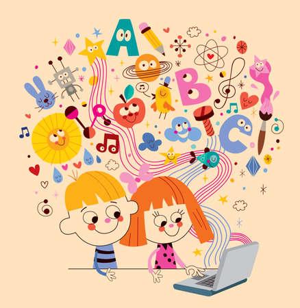 Little boy and girl learning online Vecteurs
