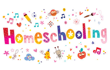 Homeschooling word written in unique lettering with additional kids design elements Ilustracja