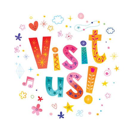 visit us banner with unique lettering