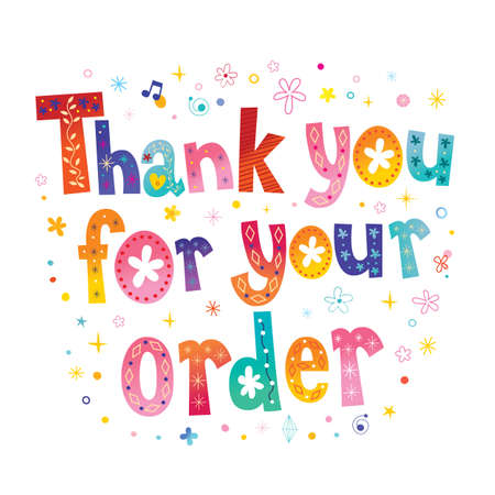 Thank you for your order lettering on white