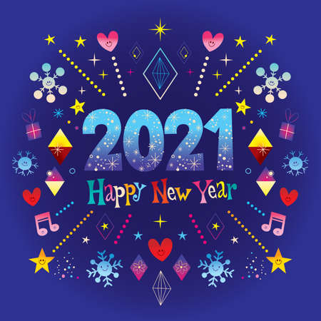 Happy New Year 2021 greeting card. Wow! Extremely impressive!