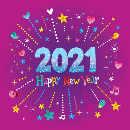 Happy New Year 2021 greeting card Ilustracja