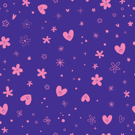 cute hearts and flowers seamless pattern Ilustracja