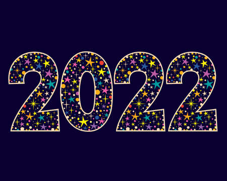 2022 New Year two thousand twenty two decorative number