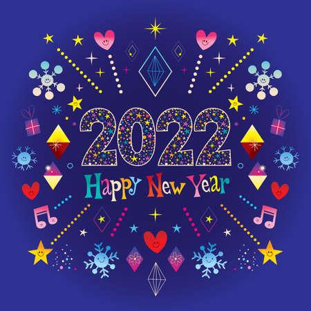 Happy New Year 2022 greeting card Ilustracja