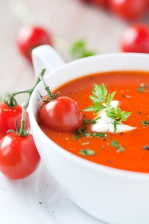 vegetable soup: tomato soup in a bowl
