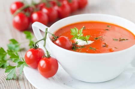 tomato soup in a bowl  photo
