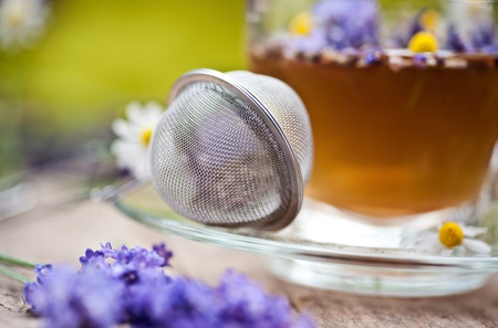 tea strainer: tea strainer and lavender tea
