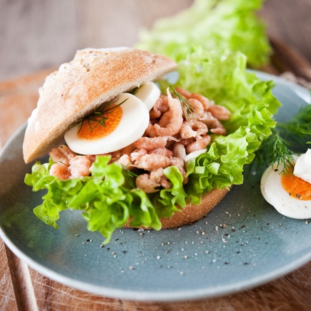 crab meat: crabs in a bread roll with fresh salad