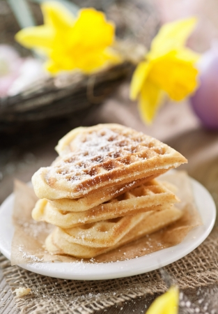 stacked belgian waffles  Banque d'images
