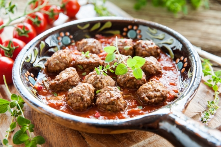 beef stew: aromatic meatballs Stock Photo