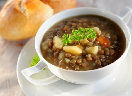 potato soup: brown lentil soup