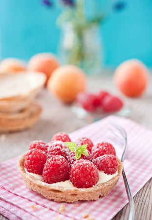tartlet: sweet raspberry tartlet  Stock Photo