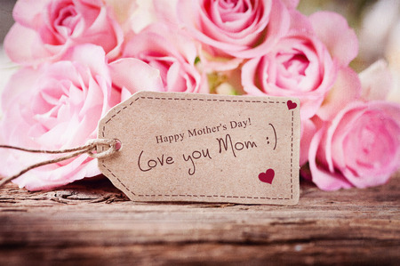 gift tag: Love you mom Stock Photo