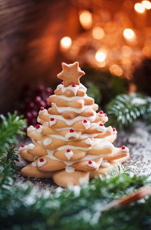 festive food: Christmas cookie tree Stock Photo