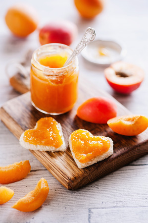 Fresh apricot jam in glass - sweet breakfast 05 Reklamní fotografie